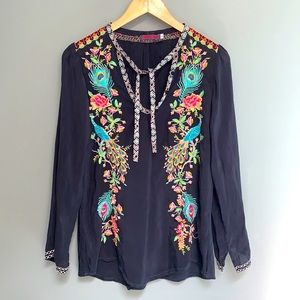 Johnny Was Peacock Sable Embroidered Blouse Tunic